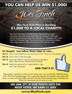 """Help the library win $1000 by """"liking"""" our logo on the Wes Finch Facebook page."""