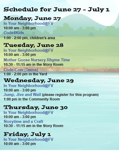 summer schedule June 27 - July 1