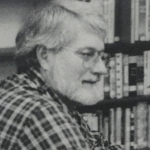 Man wearing glasses, black and white