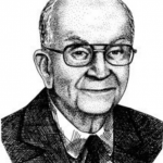 Drawing of a man wearing a suit with glasses