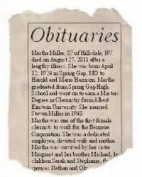 Image result for obituary with picture